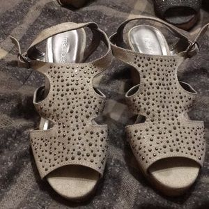 Grey/silver wedge sandals size 8